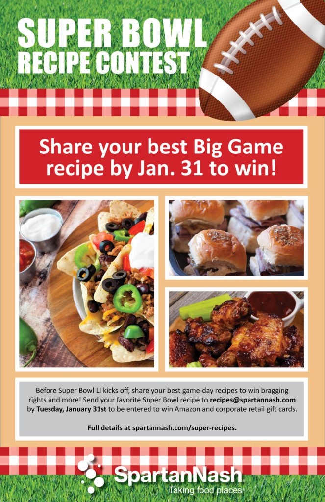 Super bowl recipe contest spartannash company thats why we are asking you to get in the game by sending in your favorite super bowl party recipe forumfinder Gallery